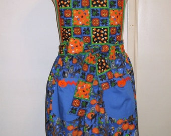 Apron Vintage-Inspired Women's Halloween Blue & Orange Patchwork cotton fabric print with pockets
