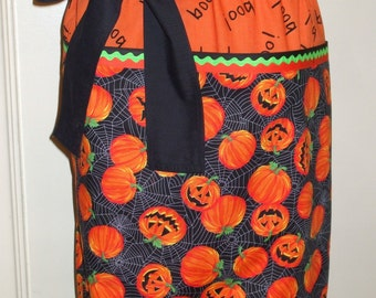 Halloween Pumpkins Trick-or-Treater Greeter Cotton Apron with Large Pockets for Holding Candy