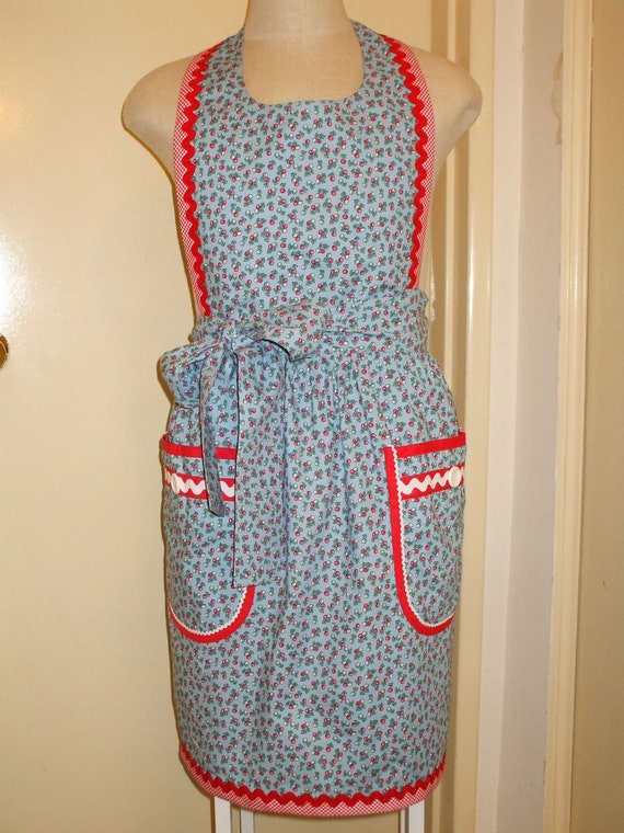 Apron Vintage-inspired Womens Cherry Cherries cotton fabric print with pockets