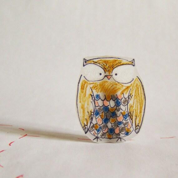 Woodland Owl brooch/ pin