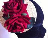 Summer vintage style straw fascinator with velvet roses