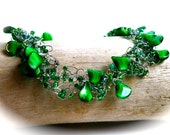 Green Crochet Necklace...Emerald Green Glass Beads and Green Seed Beads on Silver Wire (free shipping)