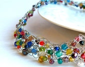 Wire Crochet Necklace with Multi Colored Beads