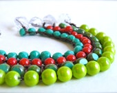 Light Green Stack Boho Bracelet. Spring Green Round Beads Crocheted on Brown Cord Clasped with Facet Clear Bead. (free shipping)