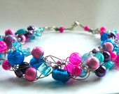Wire Crochet Necklace...Purple and Pink Crackle Glass and Aqua Accents  on Silver Wire (free shipping)