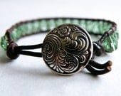 Leather Wrap Bracelet with Rosaline Green Czech Beads