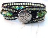 Tropical Blue and Sea Green Beads Leather Wrap Cuff Bracelet with SandDollar closure, Luxe Boho Beach