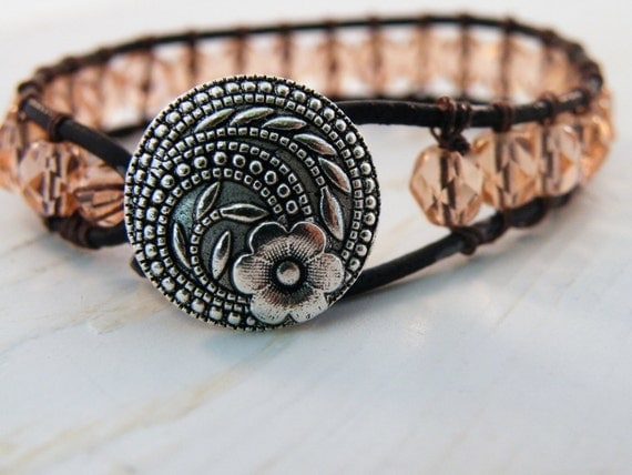 Peachy Pink Czech Beaded Leather Wrap Bracelet