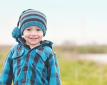 Toddler Striped Hat Knitting PATTERN-Pdf, in Worsted Weight, Chemo Hat, Light Weight-Team Colors