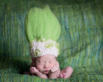 TROLL DOLL-Newborn Hat Knitting Pattern- Thing One/Thing Two-For Baby Photography Prop- Uses Handspun Yarn