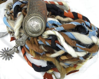 Cowboy-Western, One-of-a-Kind Handspun Art Yarn, With Leather and Denim- Super Bulky Yarn