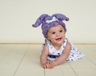 Baby Bunny Hat PATTERN, Baby Puppy Hat, in Soft, Handspun, Super Bulky Yarn, for Photo Prop