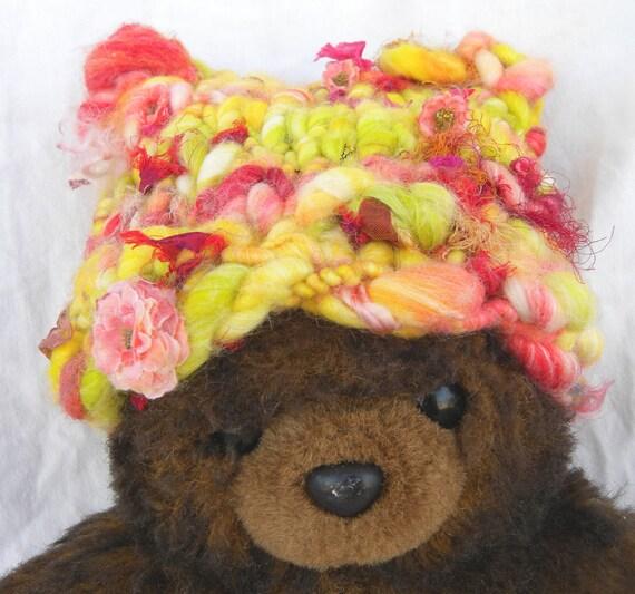 CUSTOM Order, for Michele Hughes-Newborn Hat, From My Own, Handspun Art Yarn Tropical Flowers, Handspun Super Soft Bamboo Blend- Photo Prop