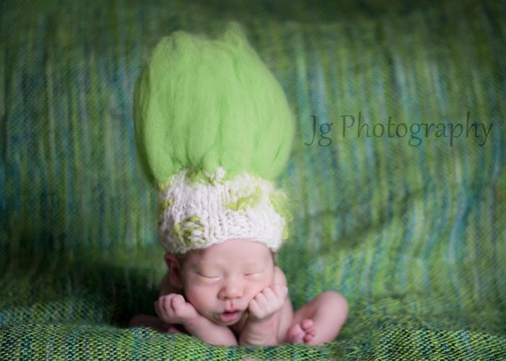 TROLL DOLL-Baby Hat Knitting PATTERN- Thing One, Thing Two-For Baby Photography Prop- Uses Handspun Yarn, in 2 Sizes