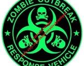 Zombie Outbreak Response Vehicle 2 color vinyl decal