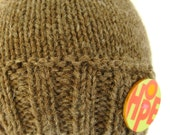 Knit Hat With Wood Button - 100% Wool