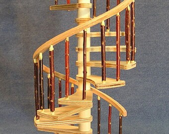 1/12 scale 10 inch Spiral Staircase KIT with rustic balusters and square landing tread .