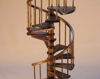 1/12th scale, 8 inch walnut spiral staircase.