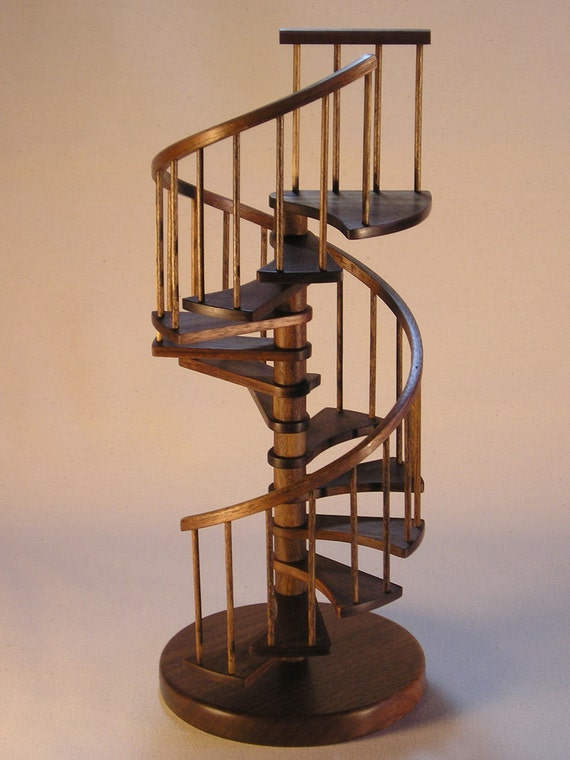 1/12th scale, 10 inch walnut spiral staircase.