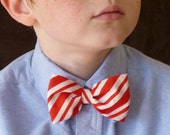 Red and White Stripe  Bow Tie - Clip on, Pre-tied with strap or self tie - freestyle - Christmas, Holiday