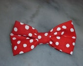Boy's red and white polka dot clip on Bow Tie