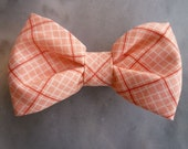 Boy's Coral Pink Plaid Bow tie - clip on