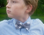 Grey Quarter Dot Bow Tie for boys or men - clip on, pre-tied with strap or self tying freestyle - ring bearer outfit or easter ties
