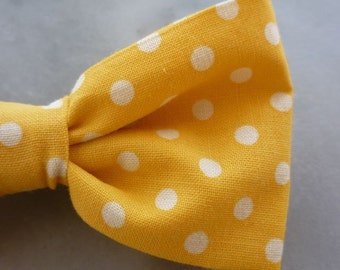 Yellow Polka Dot Bow tie - clip on, pre-tied with strap, or slef tying