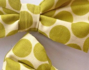 Boys Bow tie in Big Green Polka Dots  - As seen in Martha Stewart Weddings
