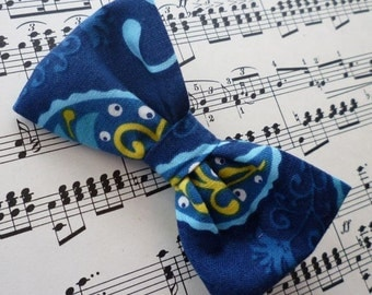 Boy's Blue and Yellow Paisley Bow Tie - clip on