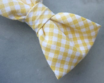 Yellow Gingham Bow Tie for boys - clip on