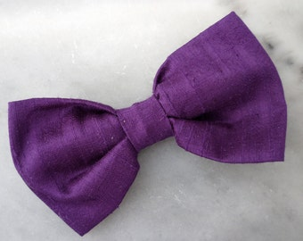 Purple Dupioni Silk Bow Tie for men or boys - clip on , pre-tied with strap or self tying - wedding ties, ring bearer outfit - easter ties