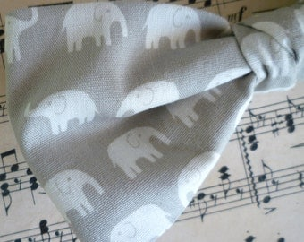 Gray Elephant Mens Bow tie - clip on