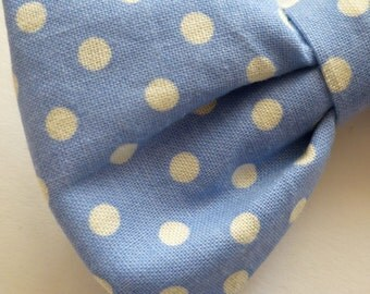 Periwinkle Blue Polka Dot Bow tie - clip on, pre-tied wtih strap or self tying - ring bearer outfit or wedding attire