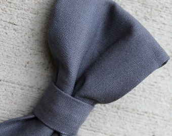 Solid Coal Gray Bow Tie for Men or Boys - clip on, pre-tied with strap or self tying