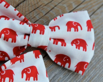 Red Elephant Bow tie - clip on, pre-tied with strap, freestyle self tying