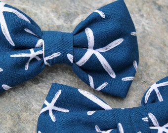 Starfish Bow Tie for boys - clip on - Navy blue, Orange or Gray