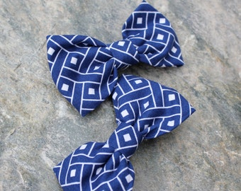 Navy Blue Basketweave Bow Tie for boys - clip on