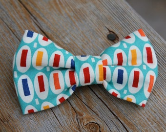 """Turquoise """"Pez"""" Bow Tie - clip on, pre-tied with strap or self tying - for men or boys"""