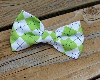 Lime Green Argyle Plaid Bow tie - clip on, pre-tied with strap or self tying