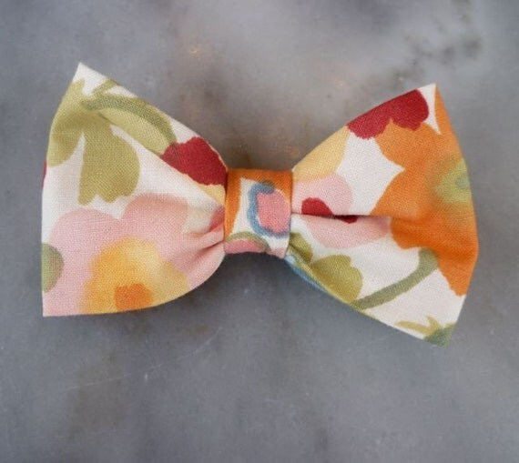 Boy's bright spring floral bow tie - clip on