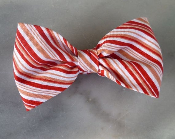 Bow Tie in Pink and Red Candy Cane Stripes - clip on, pre-tied with strap, or self tying - christmas outfit,