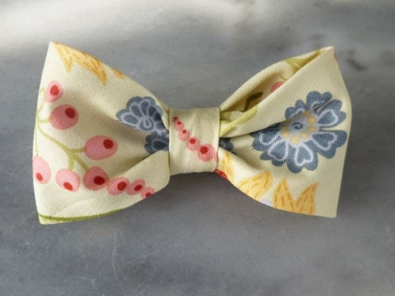 Spring floral bow tie - clip on, pre-tied with strap, self tying or traditional necktie