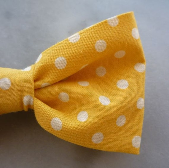 Men's Yellow Polka Dot Bow tie - clip on, pre-tied adjustable or self tying