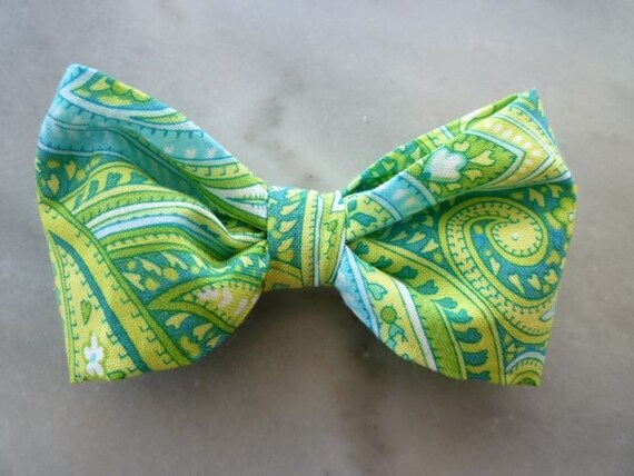 Minty Paisley Bow Tie - clip on, pre-tied with strap or self tying