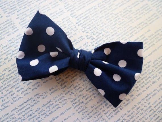 Men's Navy Blue Big Dot Bow tie - clip on, pre-tied adjustable strap or self tying