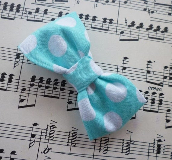Ocean Polka Dot Bowtie - clip on, pre-tied with strap, or self tying