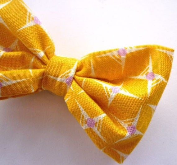 Boy's Yellow Hop Dot Bow tie - clip on