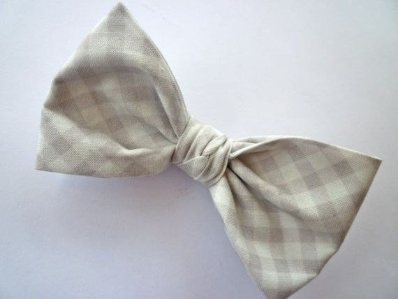 Gray plaid bow tie - clip on, pre-tied with an adjustable strap or self tying