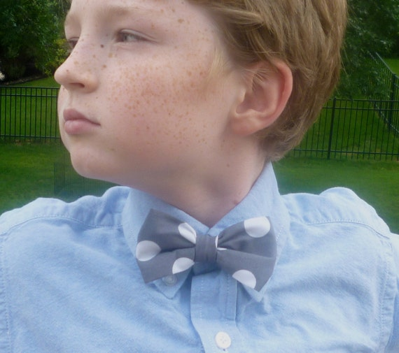 Grey Quarter Dot Bowtie for boys or men - clip on, pre-tied with strap or self tying freestyle - ring bearer outfit or easter ties